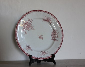 Antique French Faience Red Transferware Round Serving Platter Sarreguemines 12""