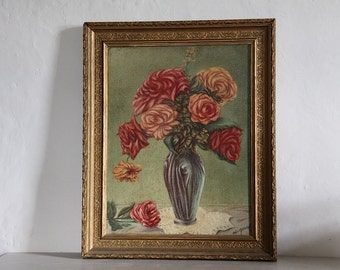 French Antique Painting of Roses Signed by Artist Shabby Chic Roses