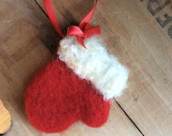 Needle Felted Wool Red Winter Mitten White Curly Cuff Christmas Santa Ornament