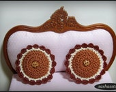 Dollhouse miniature crochet cushions, brown and round, dollhouse accessory, home decor 12th scale