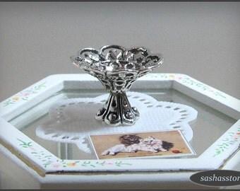 Tiny silver bowl, miniature home decor, dollhouse miniatures, 12th scale