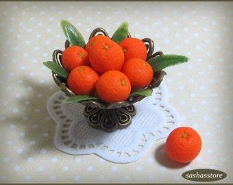Bowl with oranges, dollhouse miniature fruit, miniature fruit bowl, dollhouse food 12th scale