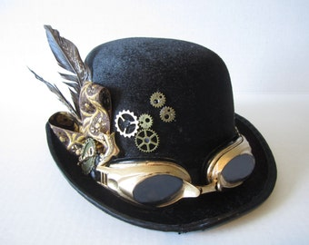 Steampunk Bowler Hat With Feathers, Black with Bronze Goggles & Gears, Victorian boot, Steampunk, Steam Diesel, Time Travel , Time Flyer Hat