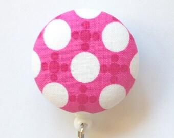 Hot Pink Badge Reel - Polka Dot Badge Holder - ID Name Badge - Retractable Name Badge - Pink Badge Reel - Nurse Gift - Fabric Badge Reel