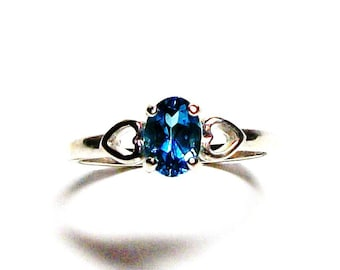 "Blue topaz ring, london blue ring, solitaire ring, double heart ring, blue,  birthstone ring,  s7   ""Blue Garland"""