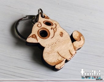 Cat Wood Keychain OR Cat Charm Accessory - Wood kitty cat keychain, wood kitty cat charm, cute cat keychain, cute cat, cute kitty, cat lover