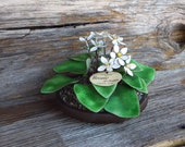 Bovano Hand Made Enamel Floral Arrangement in Bowl Enamel Over Copper Flowers and Leaves Sculputre Cheshire Connecticut