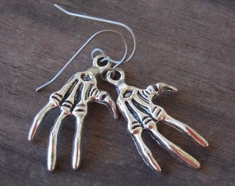 Titanium Earrings with Silver Skeleton Hands