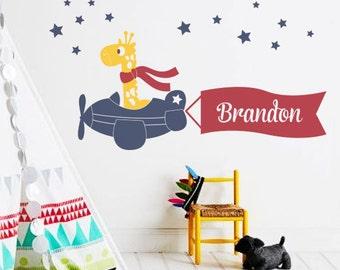 Wall Decal Giraffe and Airplane Banner Custom Name - Nursery Wall Decal Sticker
