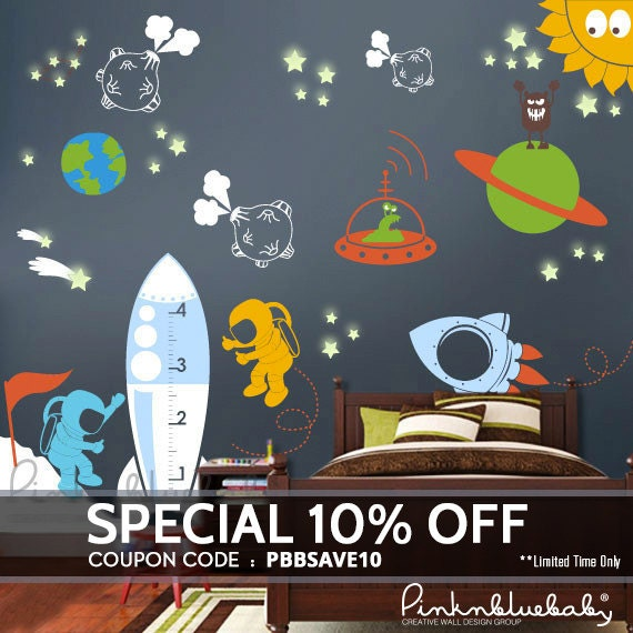 Outer Space Wall Decal Playroom Decals - Kids Wall Decor