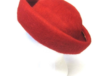 Red Wool Hat Curled Brim Boater By Daytons 1950s