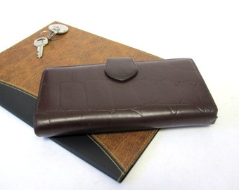 Brown Womens Wallet Moc Croc Leather Billfold Checkbook