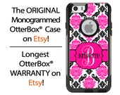 iPhone OtterBox Commuter Case for iPhone 6/6s, 6 Plus/6s Plus, 5/5s, 5c, 4/4s, Galaxy S6 S5 S4 Note 5 4 Monogrammed Black Pink Damask Case