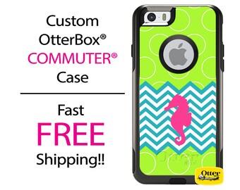 iPhone OtterBox Commuter Case for iPhone 7, 7 Plus, 6/6s, 6 Plus/6s Plus, 5/5s/SE, 5c Galaxy S7 S6 S5 Note 5 Custom Chevron Seahorse Case