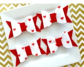 Wool felt hairbows - wool felt red heart dot -Ready to ship - red and white felt - Valentine hairbow