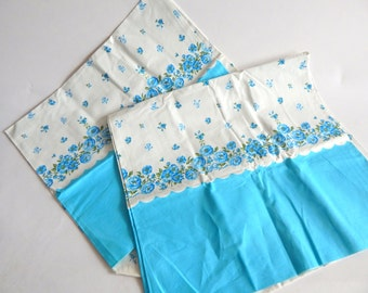 2 Deadstock Vintage Borderprint Feedsacks Bright Blue Floral
