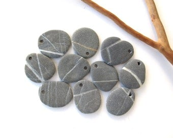 Beach Stone Beads River Stone Rock Beads Diy Jewelry Drilled Mediterranean Natural Stone Beads Pairs STRIPED CHARCOAL STONES 22-25 mm