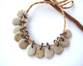 Stone Beads Small Stone Charms Jewelry Findings Mediterranean River Rock Beads Pairs BEIGE MIX 11-12 mm