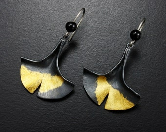 Ginkgo leaf earrings of silver with fine gold
