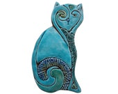 Decorative cat // Garden decor // Garden art // Ceramic tiles // Outdoor Wall Art // Yard art // left-plain // 26cm // Turquoise