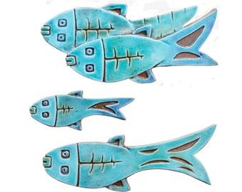 Set of4 ceramic fish // Fish wall art // Fish wall hangings // Ceramic art // Fish ornament // Ceramic fish // Turquoise