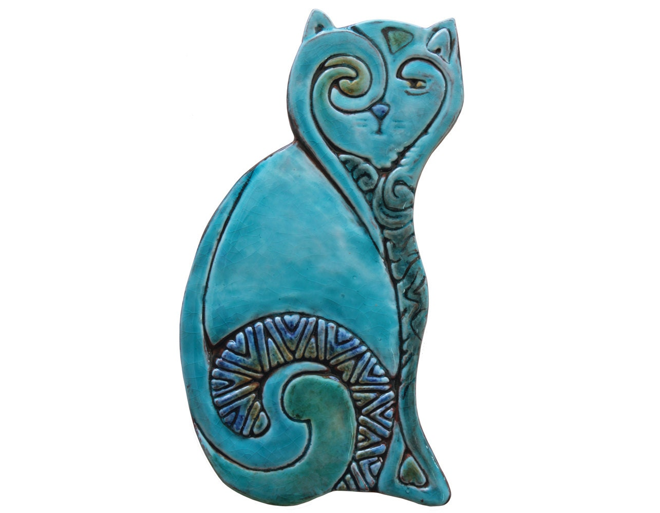 Ceramic cat ceramic tile cat art decorative tiles decorative cat garden decor garden art ceramic tiles amipublicfo Gallery