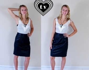 Half Off vtg 80s BLACK high waisted LEATHER SKIRT Medium tight rocker fitted punk soft motorcycle knee length indie dress pencil