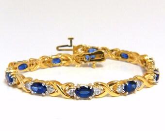 "2.30ct natural sapphire diamonds tennis bracelet 14kt ""x"" pattern classic"