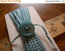 Vintage Teal Stripe Cotton Woven Ribbon - 13 yards -Grey Jade Blue-green dark & light striped -Gift tie embellishment scrapbooking packaging