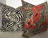 Zebra Decorative Pillow Covers in two Coordinating Designer Fabrics