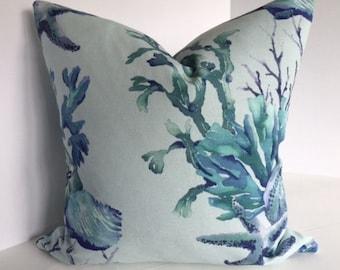 Aquatic Sealife Watercolor Blue Coral Decorative Pillow Covers