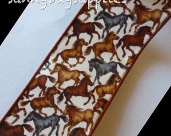 Horse Ribbon,  Horse Stampede, Wide and Wired Ribbon,  2.5 in. wide,  2 Yards, Brown and Gray Horses, Realistic Horses, Animals, Nature, Bow