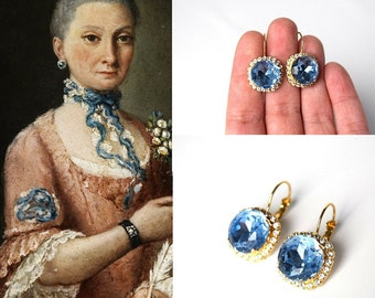Light Blue Crystal Earrings, Blue Rhinestone Jewelry Georgian Paste Historical Blue Wedding Sky Blue Bridal Earring, 18th Century Earrings,