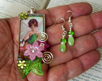 Jewelry Set (S616) Necklace and Earrings, Fairy Graphic Under Resin Pendant, Flowers, Crystal Dangles, Green and Pink