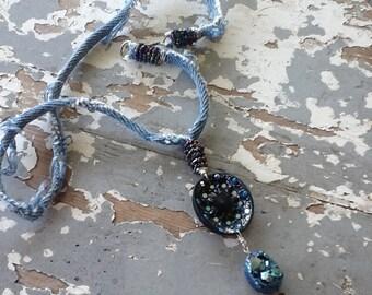 Blue Druzy Necklace Boho Bohemian Necklace Fabric Necklace Beach Necklace