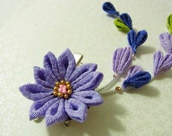 Tsumami Kanzashi flower brooch and hair clip  Kimono Japanese Chirimen - chrysanthemum (Purple)