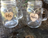 His and Hers mini Mason Jar Mugs Shot Glasses