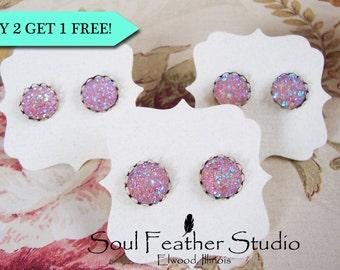 505•Pink Grapefruit Faux DRUZY Earrings•Stud Earrings•Boho Earrings•Post Earrings
