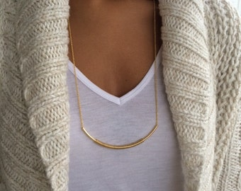 Delicate Gold Necklace - Long Curved Wrapped Bar Necklace