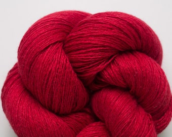 Lust Red Silk Cashmere Lace Weight Recycled Yarn
