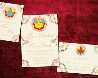 GANESHA Indian Wedding Invitation Set Design Save The Date Card Engagement Party Bridal Shower Housewarming Hindu Marathi Gujarati Jain Jat