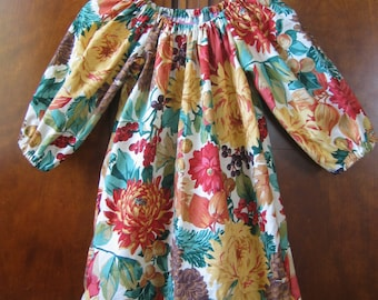 Girls Peasant Dress - Fall Harvest, Floral, Acorn - Size 6M to Size 14 - Matching Clips Sold Seperately