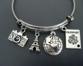 Travel Bracelet / Paris Bracelet / France / Eiffel Tower Bangle / Travel Bangle / Wanderlust Bracelet / Adjustable Expandable Charm Bracelet