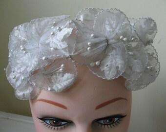 Vintage wedding bridal headband white maple leaf