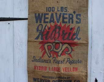Vintage Burlap Popcorn bag with vintage wooden hanger