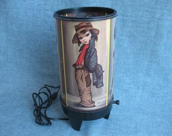 Vintage Mod Lamp Big Eye Girl Cylinder Lamp Mid Century Works Eden Hobo Girls