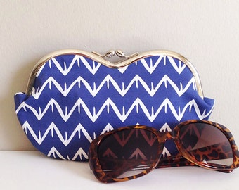 Peeks and Valleys in Indigo, a large sunglass case, small clutch, sunglasses case