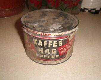 vintage kaffee hag coffee tin full needs cleaned