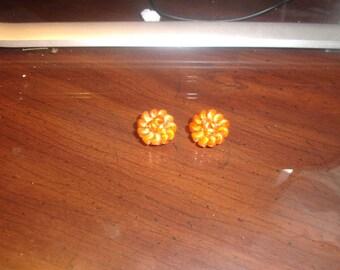vintage clip on earrings orange lucite bead cluster