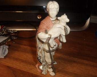vintage lenox nativity first blessing shepherd boy with lamb